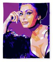 Sophia Loren Pop Art Fleece Blanket
