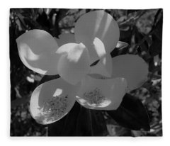 Southern Magnolia In Black And White Fleece Blanket