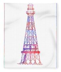 Southwest Pass Lighthouse - Louisiana - Blueprint Drawing Fleece Blanket