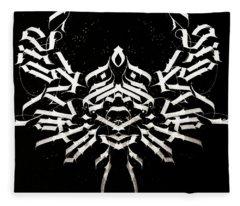Space Crab. Calligraphic Abstract Fleece Blanket