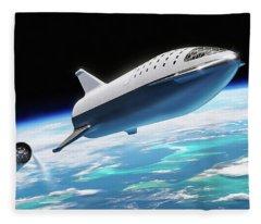 Spacex Bfr Big Falcon Rocket With Earth Fleece Blanket
