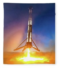 Fleece Blanket featuring the photograph Spacex Falcon 9 Precision Booster Landing by Matthias Hauser