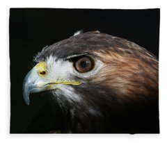 Sparkle In The Eye - Red-tailed Hawk Fleece Blanket