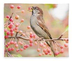 Sparrow Eating Berries Fleece Blanket