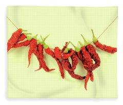 Spicy Chillies Fleece Blanket