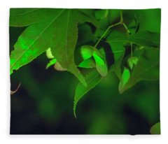 Spider At Night On A Leaf Fleece Blanket