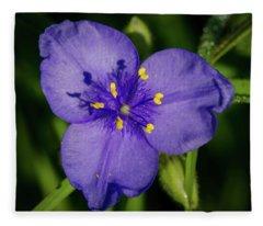 Spiderwort Flower Fleece Blanket