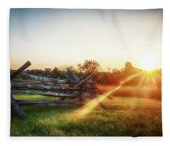 Split-rail Sunset Fleece Blanket