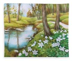 Spring At Creek Fleece Blanket