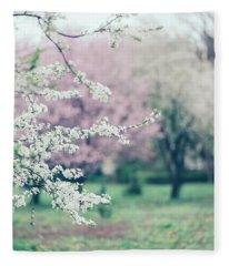 Spring Blossoms On Tree Branches In Colorful Garden Fleece Blanket