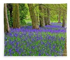 Spring Bluebell Woodland Fleece Blanket