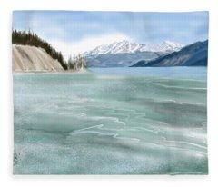 Spring Break The Alaska Highway At Muncho Lake Fleece Blanket