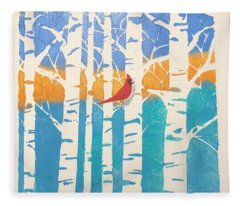 Spring Cardinal In Middle Birch Tree Fleece Blanket