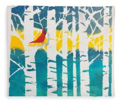 Spring Cardinal With Birch Trees Fleece Blanket
