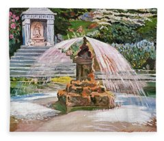 Spring Fountain And Pond Fleece Blanket