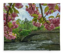 Spring Garden On The Bridge  Fleece Blanket
