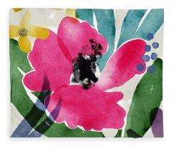 Spring Garden Pink- Floral Art By Linda Woods Fleece Blanket