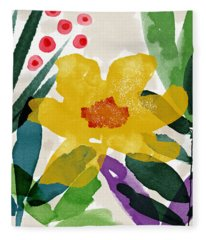Spring Garden Yellow- Floral Art By Linda Woods Fleece Blanket