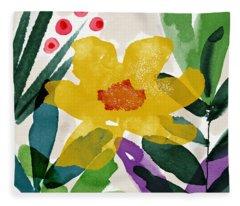 Spring Garden Yellow- Floral Art By Linda Woods Fleece Blanket