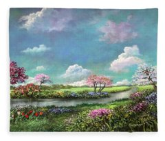 Spring In The Garden Of Eden Fleece Blanket