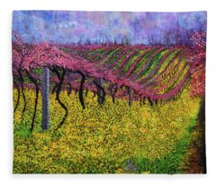 Spring Vineyard Fleece Blanket
