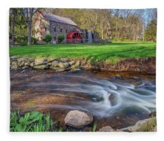 Springtime At The Grist Mill Fleece Blanket