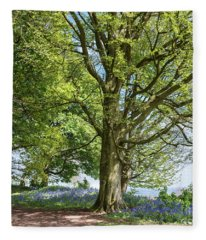 Springtime Beech And Bluebells Fleece Blanket
