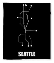 Square Seattle Subway Map Fleece Blanket