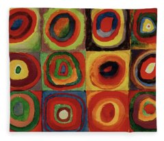 Squares With Concentric Circles 1913  Fleece Blanket
