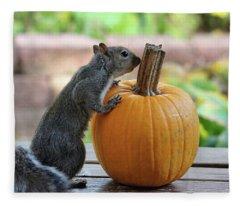 Squirrel And Pumpkin Fleece Blanket