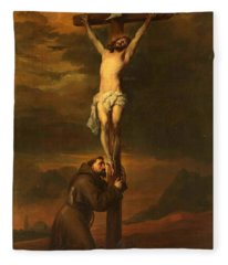 St Francis At The Foot Of The Cross Fleece Blanket