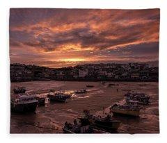 St Ives Cornwall - Harbour Sunset Fleece Blanket