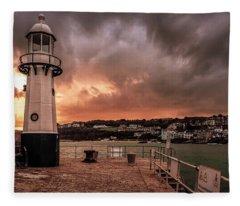 St Ives Cornwall - Lighthouse Sunset Fleece Blanket