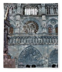 St Joan Of Arc Watch Over Notre Dame Fleece Blanket