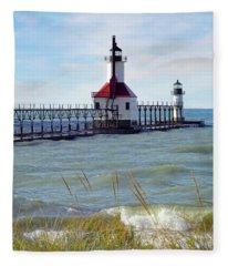 St. Joe, Michigan Lighthouse Fleece Blanket