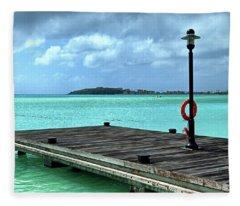 Fleece Blanket featuring the photograph St. Maarten Pier In Aqua Caribbean Waters by Bill Swartwout Fine Art Photography