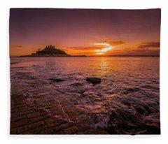 St Michael's Mount - January Sunset Fleece Blanket