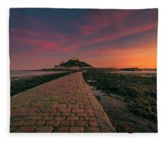 St Michael's Mount Sunset Fleece Blanket