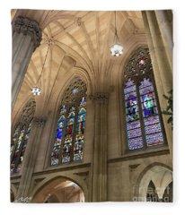St Patricks Stained Glass Fleece Blanket