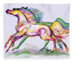 Crayon Bright Horses Fleece Blanket