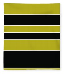 Stacked - Gold, Black And White Fleece Blanket
