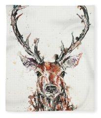 Stag Portrait Fleece Blanket