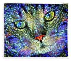 Stained Glass Cat Art Fleece Blanket