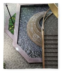 Stairs And Fountain  Fleece Blanket