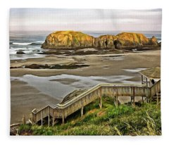 Stairs To The Beach Fleece Blanket