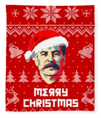 Stalin Merry Christmas Russian Letters Fleece Blanket