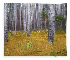 Stand Of Pines And Whitetailed Buck. Fleece Blanket