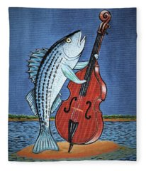 Stand Up Striped Bass With Stand Up Striped Bass Fleece Blanket