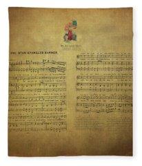 Star Spangled Banner Vintage Sheet Music Fleece Blanket