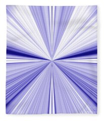 Starburst Light Beams In Blue And White Abstract Design - Plb455 Fleece Blanket